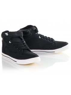 Twisted Soul Black Cotton Mid Top Trainers