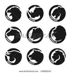Set animal logos. Eagle, rhinoceros, panther, horse, bear, gorilla, bull, wolf…