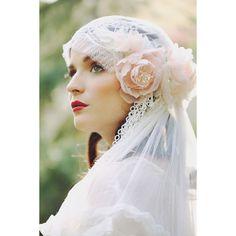 Pastel Blush Juliet Bridal Cap Chantilly Lace Silk Veil .