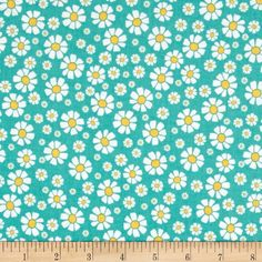 Penny Rose Shabby Strawberry Daisy Teal from @fabricdotcom  Designed by Rebecca Baer for Penny Rose, this cotton print is perfect for quilting, apparel and home decor accents. Colors include shades of aqua blue, yellow and white.
