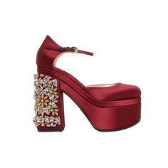 Rochas embellished satin pumps are the ultimate pop of color
