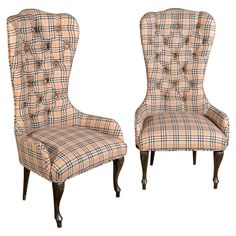 View this item and discover similar for sale at - This pair of unique antique child's chair frames are perfect for your little princes & princesses. They are newly upholstered in a Burberry-esque Plaid, Armchairs For Sale, Burberry Plaid, Tufted Chair, High Back Chairs, Painted Chairs, Kids Furniture, Tartan, Gingham, Antiques
