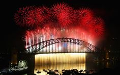 Fireworks explode off the Sydney Harbour Bridge during the midnight fireworks display on New Year's Eve in Sydney