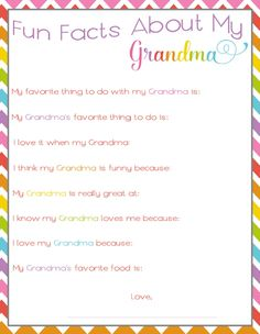 Fun Facts About My Grandma- fun free printable Mother's Day or birthday gift idea for Grandma!