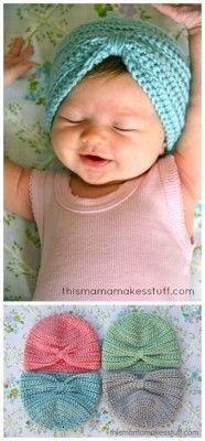 The Homestead Survival | Adorable Baby Turban Crochet Pattern | http://thehomesteadsurvival.com