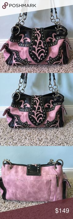 Pink studded dress concealed gun bag shoulder Very dressy and beautiful pink and black leather handbag with Snakeskin, rhinestone, silver stud accents. Excellent used condition clean inside, top pouch zippers with two large interior pockets and one smaller zipper pouch that separates them. Interior also has two side pockets and one side zipper pocket. On the exterior there are two smaller snack pouches on either side and the rear side has one small pouch and one large zipper pouch first…