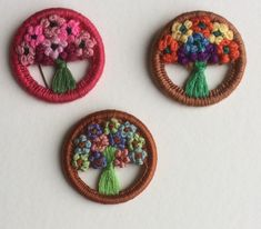 Sue's vintage button with two contemporary ones that she discovered.