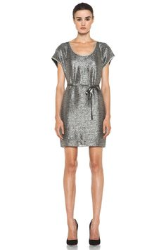 DIANE VON FURSTENBERG  New Sol Two Bugle Bead Dress in Silver