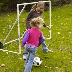 DIY Soccer Goal -The goal shown here has a basic design and is easy to build, so it can be assembled in an afternoon. Because its made from PVC pipes and deer netting, this unit is so lightweight and easy to move that you can set it up whenever youre ready to play. Get the whole family outside and turn the backyard into a playing field...full step-by-step instructions