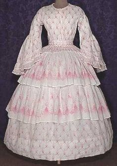 I think this is the prettiest dress I've seen yet of this era; 1858-60.
