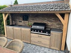 Simple Outdoor Kitchen, Outdoor Kitchen Grill, Outdoor Grill Station, Backyard Kitchen, Outdoor Kitchen Design, Outdoor Cooking, Backyard Patio, Bbq Hut, Kitchen Canopy