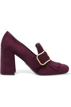 Prada - Buckled Fringed Suede Pumps - SALE20 at Checkout for an extra 20% off