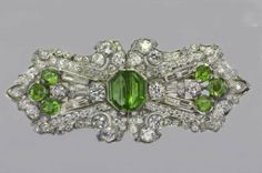 Pair of Art Deco Diamond and Peridot Dress Clips image 2