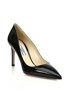 00e7b61a4ec Prada - Saffiano Leather Point-Toe Pumps Court Shoes