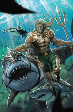 Shark King Variant Cover by Tyler Kirkham Marvel Dc Comics, Aquaman Dc Comics, Dc Comics Art, Aquaman Wallpaper, Azrael Dc, Poison Ivy Dc Comics, Univers Dc, Joker Art, Dc Comic Books