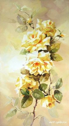 Vintage Rosen, Textiles, Rice Paper, Watercolor Paintings, Floral Paintings, Yellow Roses, Paper Crafts, Pintura Interior, Interior Painting