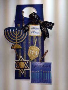 Bottle Tag; Hanukkah; Gold