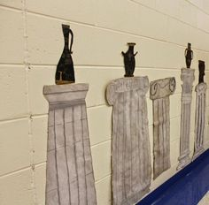 : Greek Columns and Vases (St.s create columns and use to display work from Ancient Greece studies) Greek Monsters, 6th Grade Art, Ecole Art, Roman Art, School Art Projects, Greek Art, Middle School Art, Art Lesson Plans, Art Classroom
