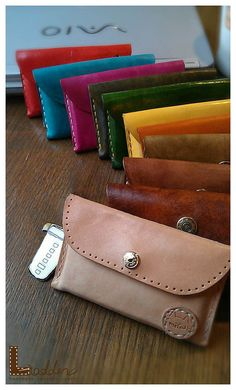 Leather coin wallet with card slot on the back by ladderleather