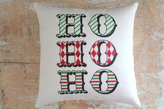 Christmas Pillow, Santa, Ho Ho Ho, Merry Christmas, Christmas Decor, Christmas Throw pillow