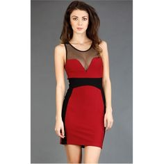 Red Mesh Bodycon Dress #partydress