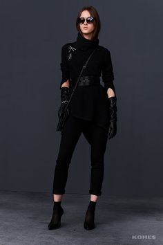 Go modern glam this fall in a belted high-low turtleneck over skinny black jeans, socks and heels. Shop the new Simply Vera Vera Wang fall collection, only at Kohl's.