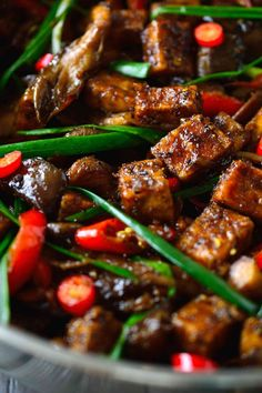 black pepper tofu with oyster mushrooms and pan-fried eggplant Veggie Recipes, Asian Recipes, Whole Food Recipes, Vegetarian Recipes, Cooking Recipes, Healthy Recipes, Ethnic Recipes, Cooking Rice, Veggie Meals