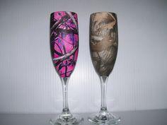 rustic camo Wedding champagne glasses and serving by RuttinCamo