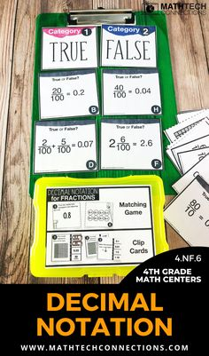 Use math centers to review fourth grade decimal notations.   These game sets include 3 activities for every 4th grade math standard.   #math #mathcenters #mathgames #4thgrade #4thgrademath #mathrotations #mathworkshop Teaching Fractions, Teaching Math, Teaching Ideas, Math Rotations, Math Centers, Math Games, Math Activities, Adding And Subtracting Fractions, Fourth Grade Math