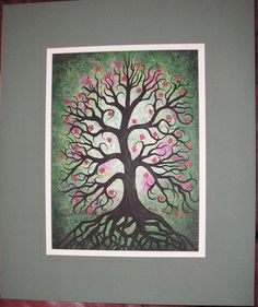 Green spring tree Pink flowers Original Acrylic by treeartist, $195.00