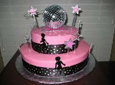 Disco Fever Cake. I made this for my daughter's 9th birthday. I used sky blue instead of pink and I did black stars on the cake (instead of disco girls) that I cut from sugar sheets.  She loved it!