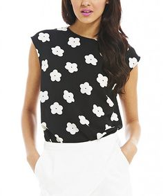 Take a look at this Black & White Daisy Cap-Sleeve Top on zulily today!