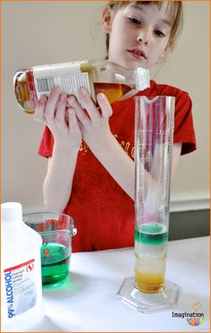 Stacking Liquids Experiment from Dr. Mollie Cule, a NEW Science Activity Book for Summer Learning #spon