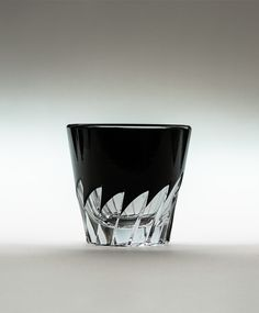 """Guinomi shot glass """"Hane"""" by Shuseki (Horiguchi Kiriko)  2.4""""D 2.24""""H 2.7oz $341 In this collection, Edo-Kiriko artist Toru Horiguchi expands his work with a more modern artistic style, while staying true to the traditions of the past. This glass displays his new dynamic approach to design, which is not found in typical/historical Edo-Kiriko. *This product comes in a beautiful black Kiribako gift box and numbered. Please contact Japan Suite for details. #edokiriko #japan #craft #glass"""
