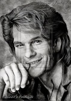 Patrick Swayze | Debuted in  1979 | His most popular song was She's Like The Wind which he initially co-wrote with Stacy Widelitz for Grandview USA. For whatever reason, the song wasn't used, but it ended up on the Dirty Dancing soundtrack three years later. | His wife, Lisa, was the inspiration for the song | Artwork by Corinne Vuillemin [©2012-2014 Sadness40]