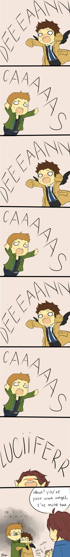 "I just love that the sleeves of Cas' trenchcoat are too long... Haha and Lucy at the bottom ""Hello Sam!"""