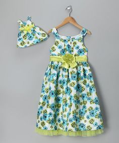Take a look at this Blue & Green Rose Dress & Doll Outfit - Girls by Dollie & Me on #zulily today!