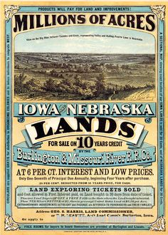 Burlington Missouri River Railroad Poster Iowa Nebraska Land Sale Ad PrintS 1872