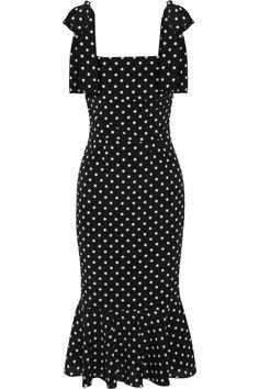 Dolce & Gabbana|Polka dot-print stretch-silk dress|NET-A-PORTER.COM
