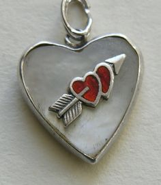 Vintage Enameled Double Heart and Arrow MOP Sterling Heart Charm
