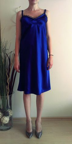 Items similar to Silk-satin Slip Dress, Royal Blue Dress, Party Dress, Cocktail Dress on Etsy Satin Slip, Silk Satin, Royal Blue Dresses, Dress Party, Trending Outfits, Vintage, Fashion, Party Dress, Moda