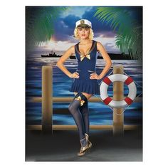 Knit sailor dress with embroidered back collar, captain's hat and bow trimmed stockings. Shoes not included. Sailor Costumes, Adult Costumes, Costumes For Women, Cute Sweater Outfits, Cute Sweaters, Halloween Costume Puns, Halloween Ideas, Military Costumes, Vintage Sailor