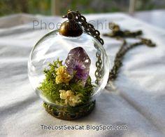 Amethyst Crystal necklace Terrarium necklace  Miniature | Etsy
