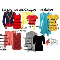 """""""Layering Tops with Cardigans"""" by imogenl on Polyvore - - V-neck: square, straight or soft square - Waterfall: V-neck or scoop neck"""