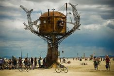 If you thought the Burning Man Festival was just a gathering, guess again: it is an entire city of 25,000 people that emerges each year on top of the flat surface of the Black Rock Desert in rural Nevada. Its architectural projects – like this marvelous metal tree house – are perhaps the most compelling part of the experience.