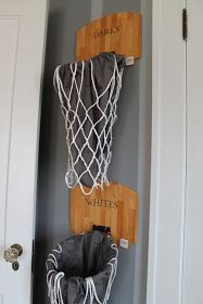 Mini basketball hoops and pillowcases turned into laundry bins; Basketball halves turned into table lamps, planters and valance decor; Ceiling pendant made from acrylic clipboards; Pegboard covered in contact paper with basketball court outline.