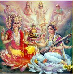 The Presiding Deities : Shri Brahma Dev & Mother Saraswati Lord Saraswati, Saraswati Goddess, Indian Goddess, Goddess Lakshmi, Saraswati Mata, Durga Puja, Ganesha Art, Krishna Art, Krishna Leela