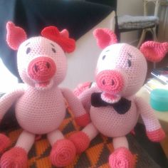 Two crocheted piglets made by Hanne Mounier - Crochet Pattern by Lovely Baby Gift