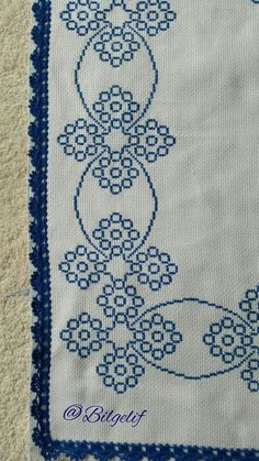 Discover thousands of images about Etamin üzeri işleme, seccade, motif, mavi, beyaz Small Cross Stitch, Cross Stitch Borders, Cross Stitch Flowers, Cross Stitch Designs, Cross Stitch Patterns, Bead Embroidery Patterns, Cross Stitch Embroidery, Hand Embroidery, Beaded Embroidery