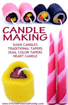 Beeswax Sheet Candle Making - A Calming And Rewarding Activity For All Ages. Learn how to make simple tapers, dual color tapers, handmade heart candles and even sushi candles!